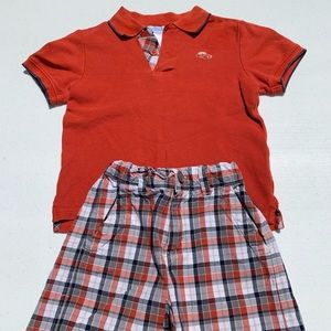 Janie and Jack boys size 3 polo and plaid shorts